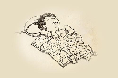 workaholic image, sleep on keyboard