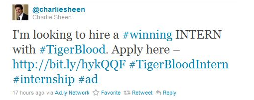 Charlie Sheen paid tweet, Internships.com Charlie Sheen