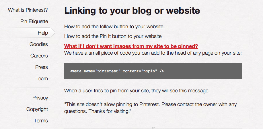 Pinterest opt-out code