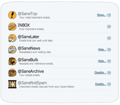 SaneBox Folders