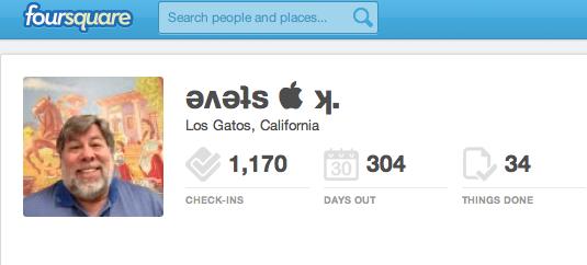 Steve Wozniak's Foursquare Account