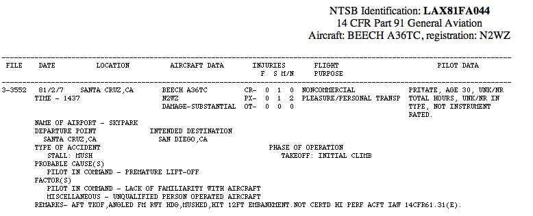 Steve Wozniak Airplane Crash Report