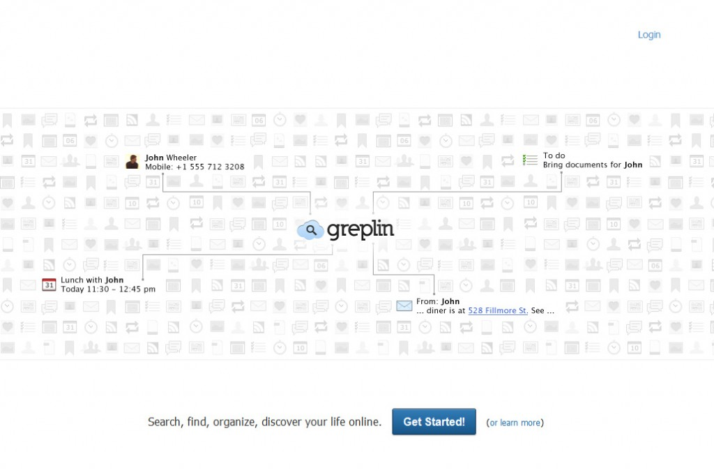 Greplin interface