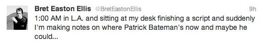 First tweet mentioning new novel