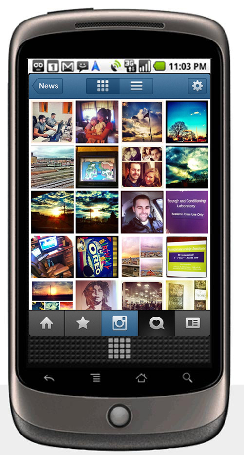 Mock-up of Instagram for Android OS