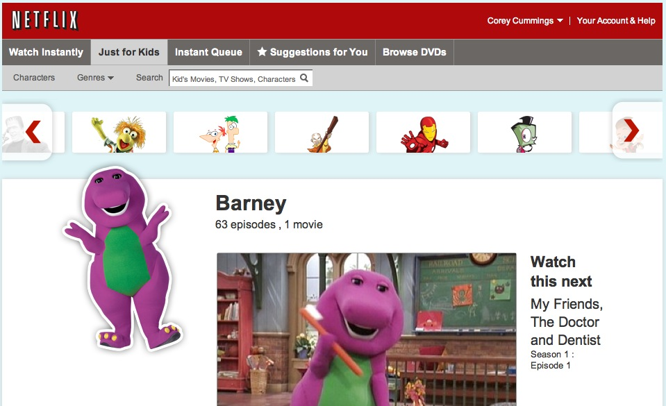 Netflix's Barney selection in Just for Kids