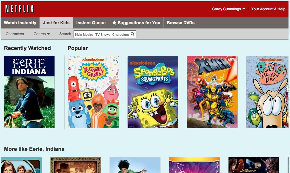 Homepage for Netflix Just for Kids Suite