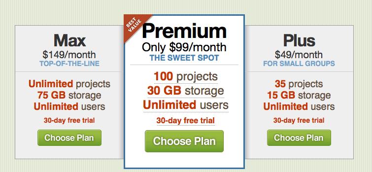 basecamp pricing screenshot