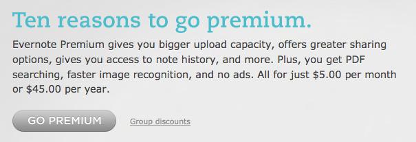 evernote pricing screenshot