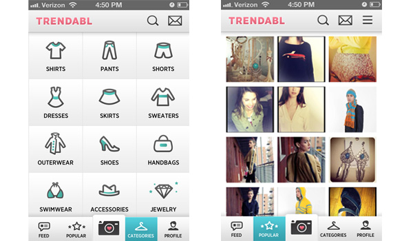 Trendabl's Categories and Popular pages