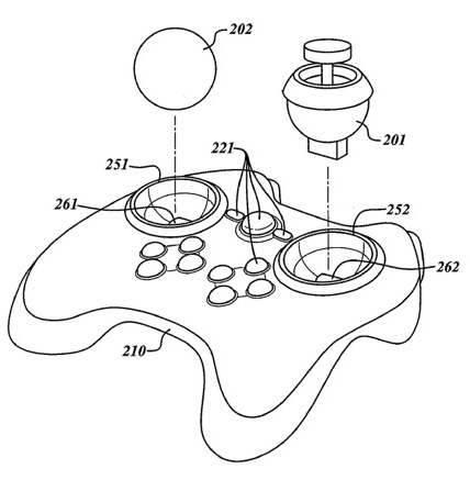 Patent image of Valve's controller with swappable buttons