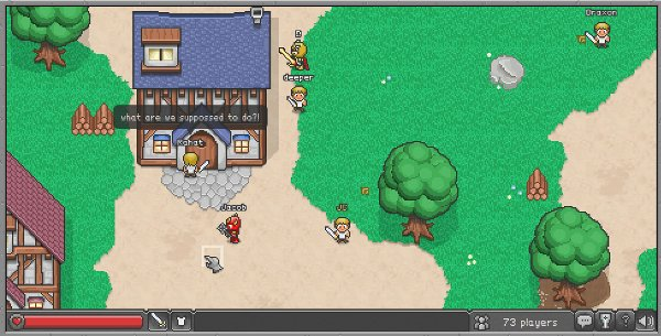 The HTML5 BrowserQuest is rendered in a 16-bit style