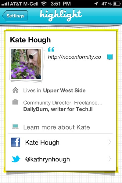 highlight app profile screenshot