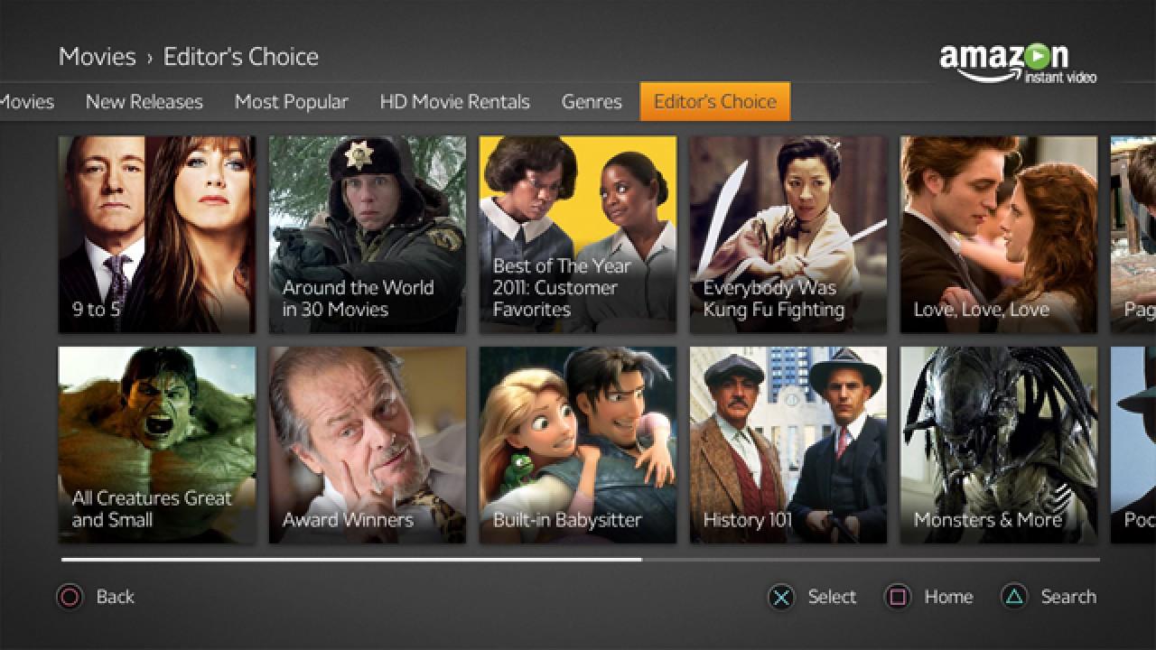 Amazon Instant Video's PS3 UI