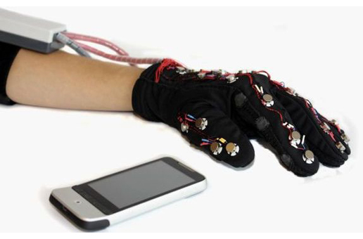The Mobile Lorm Glove interacting with a smartphone