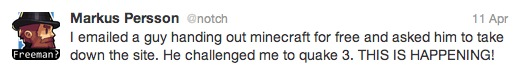 Notch's first tweet about the challenge