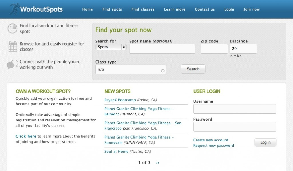Homepage of Workout Spots