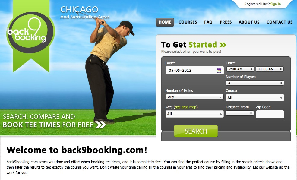 Back9Booking's home page