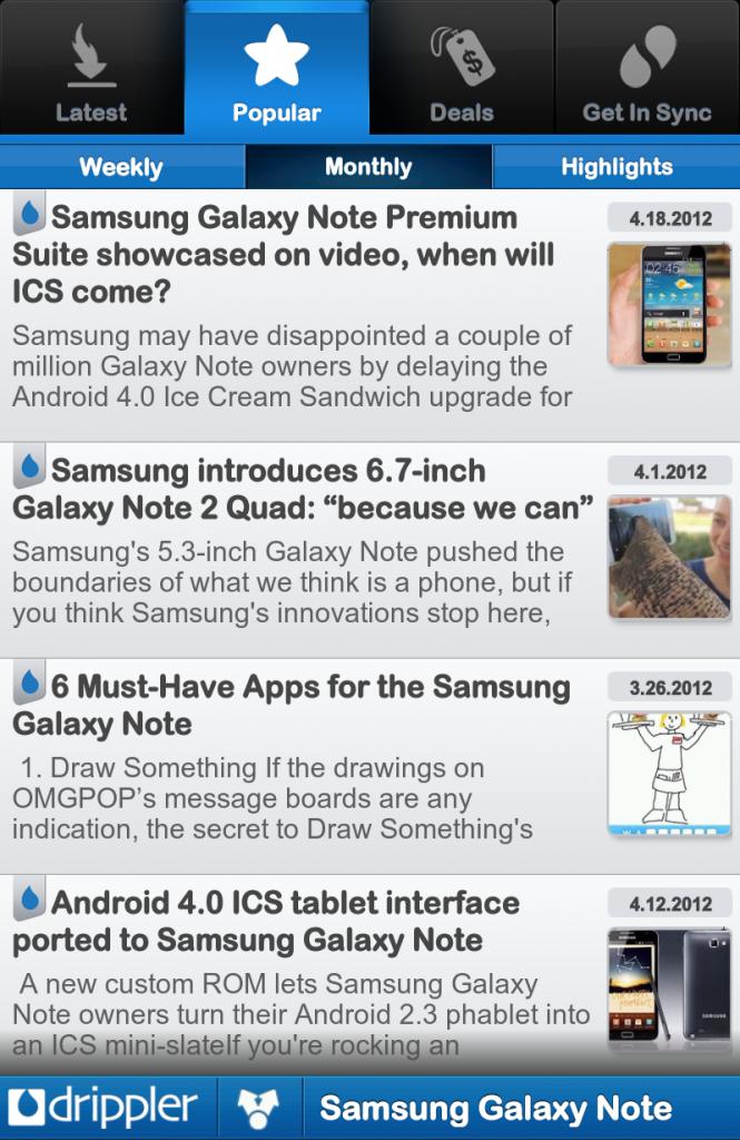 A screenshot of Drippler's new Android app