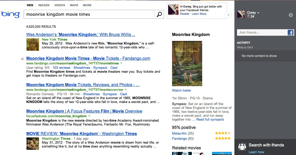 A sample movie search with the updated Bing