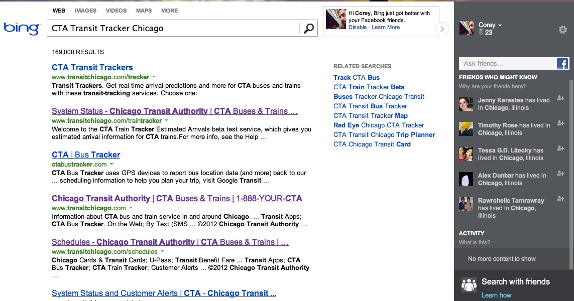 A sample search using Bing's new social feature
