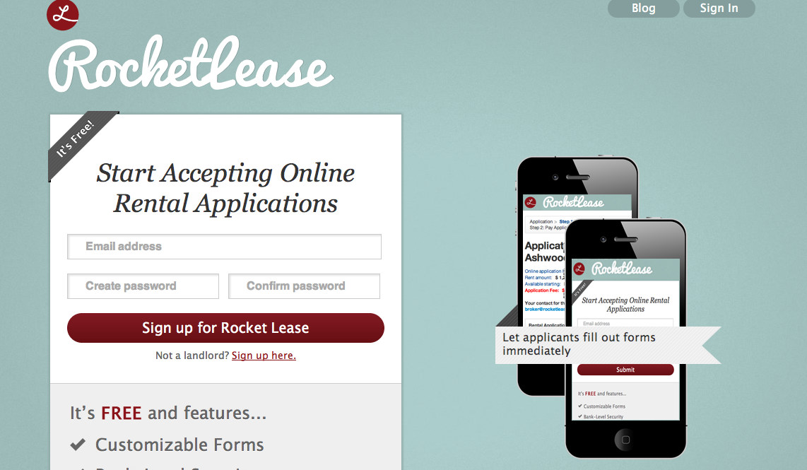 RocketLease apartment applications