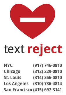 textreject phone numbers