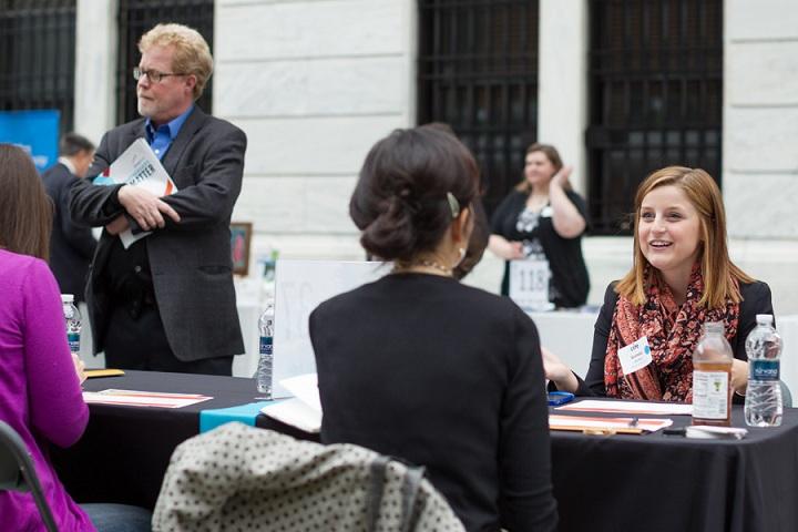 Entrepreneurs receiving advice at the 2014 Northeast Ohio Entrepreneur Expo.