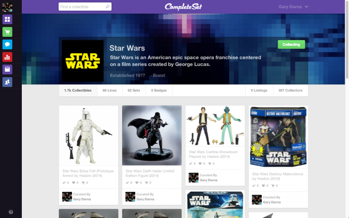 CompleteSet Star Wars Collection Page
